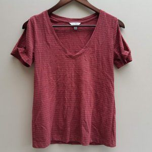 3/$20 Lucky Brand cold shoulder red stripe t shirt